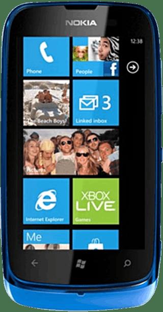 Nokia Lumia 610 Blue front